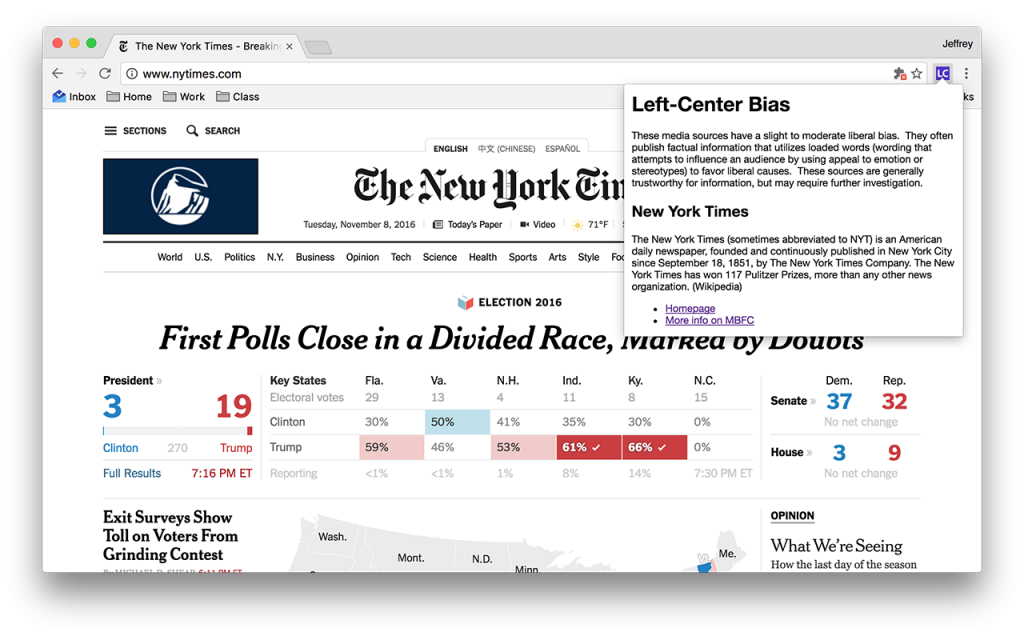 Screenshot of Media Bias/Fact Check icon in action.